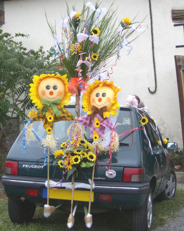 decoration voiture mariage theme champetre