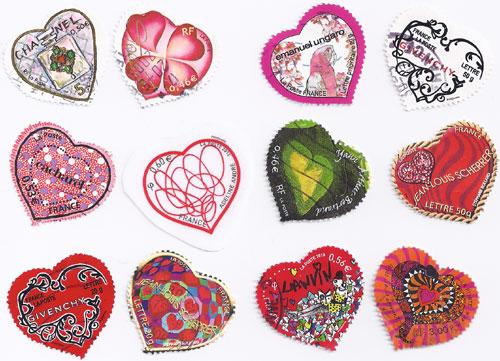 photo collection de timbres coeur pour faire part de mariage - Timbres Personnaliss Mariage
